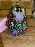 ⭐️Peggy Abrams Irish Santa Hand Blown Glass Christmas Ornament New old Stock ⭐️