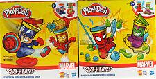2 x Marvel Avengers Play Doh Can Heads - Spiderman Green Goblin / Iron Man