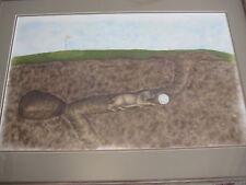 Original Pastel Painting Mole Tunnel Underground Golf Course By SLA