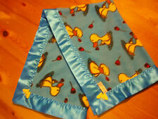 Baby Bedding Handmade Blue/Yellow Duck fleece & Neon Blue Satin Blanket Binding