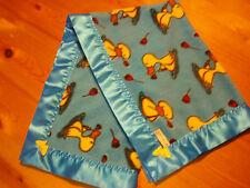 Baby Bedding Handmade Blue/Yellow Duck fleece & Neon Blue Satin Blanket Binding