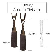 Luxury, Large Curtain, Tassel and Rope Tie Back, Mocha Brown - Singles or Pairs