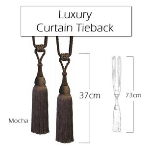 Luxury, Large Curtain, Tassel and Rope Tie Back, Mocha Brown - Singles or Pairs