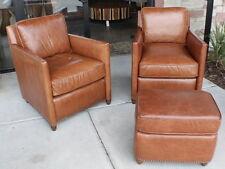 "27"" W Beautiful arm chair distressed light brown leather modern design handmade"