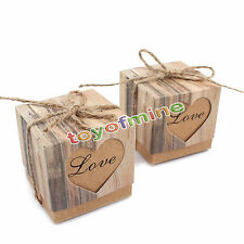50 Hearts in Love Rustic Kraft Bark Candy Box Vintage Wedding Favor Boxes