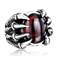 Red Dragon Claw CZ Stone Punk Biker Ring Mens Women High Quality Stainless Steel