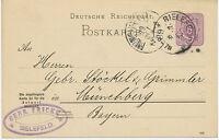 """DT.REICH """"BIELEFELD"""" K1  a. 5 Pfennig violett Kab.-GA-Postkarte-FRAGETEIL ABART"""