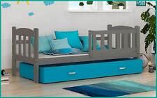 Kinderbett Tedi 160x70 cm Bett mit Matratze Bettkasten Grau Blau Neu