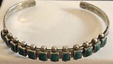 "Vintage Navajo Turquoise Sterling Silver Snake Eye Cuff Bracelet 5.75"" Apx 13.7g"