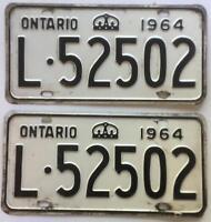 Canada 1964 Ontario Old License Plate Pair Garage Vtg Car Tag Crown Man Cave Pub