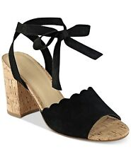 Marc Fisher Piya Lace-Up Cork Block-Heel Sandals Size 9.5 Black Suede