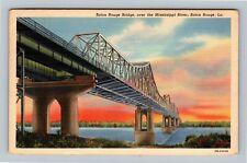 Baton Rouge LA, Baton Rouge Bridge, Mississippi River, Linen Louisiana Postcard