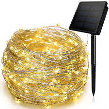 Warm White Solar 10M 33Ft 100 LED Copper Wire Light String Fairy Xmas Deco Party