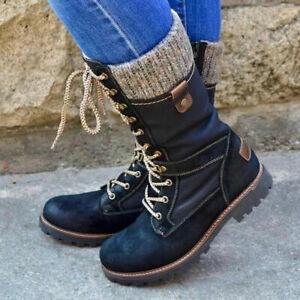 Women's Zipper Boots Low Flat Heel Riding Mid-Calf Boot Comfort Shoes Fashion