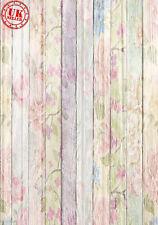PASTEL FLOWERS WHITE WOOD BACKDROP BACKGROUND VINYL PHOTO PRO 5X7FT 150x220CM