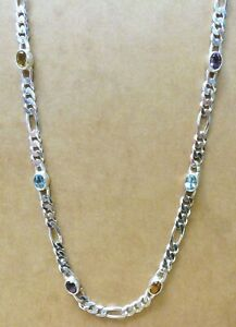 """Milor STERLING 925 24"""" Figaro Chain with Topaz Citrine Amethyst"""