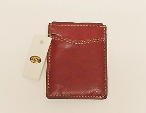 NEW FOSSIL MILES BURGUNDY LEATHER MENS MULTI CARD CASE,WALLET+MONEY SNAP CLIP