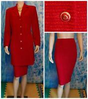 ST JOHN Collection Knits Red Jacket Skirt L 10 12 2pc Suit Velvet Collar Shimmer