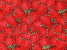 FABRIC STRAWBERRIES STRAWBERRY RED BERRIES FOOD QUILTING COTTON FREE US SHIPPING
