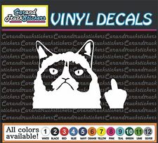 "4"" Grumpy Cat Flippin' Off  Funny cartoon Car Truck Window Vinyl Decal Sticker"