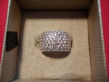 White Zircon Round Pave Band Ring in 925 Sterling Silver-Size 7-4.50 Carats