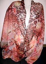 Ein Hauch von Schal Tuch Blumen Leo zart leicht orange rot super schön Neu