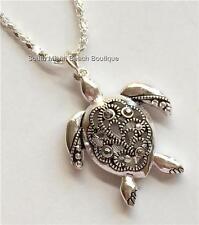 Silver Crystal Sea Turtle Necklace Filigree Crystals Pendant Sea Life USASeller
