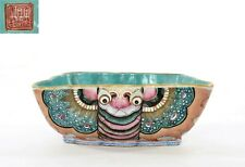 1900's Chinese Famille Rose Turquoise Glaze Porcelain Butterfly Moth Shaped Bowl