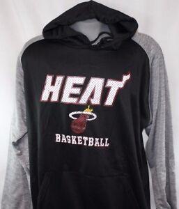 NEW Mens NBA Miami Heat Black Grey Poly Fleece Raglan Basketball Pullover Hoodie