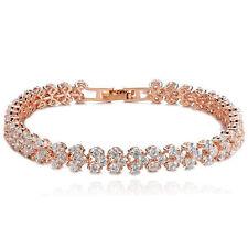 Mother's Gift Crystal Rhinestone White Topaz Rose Gold Plated Tennis Bracelet