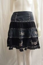 Free People Black Blue Embroidered Full Skirt 6 M