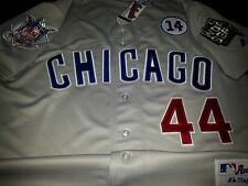 Brand New! GRAY! Chicago Cubs Majestic #44 Anthony Rizzo DUAL patch SEWN Jersey
