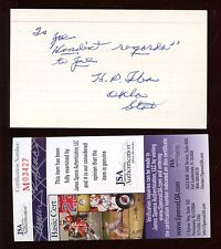 H P Iba Oklahoma State Basketball Coach Autographed Index Card JSA Cert