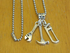 Mens Silver-Tone Tool/Construction Worker/Handyman Pendant Charm Necklace Hammer
