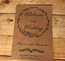 50 Personalised Wedding Order of Service / Order of Day Rustic Brown Card