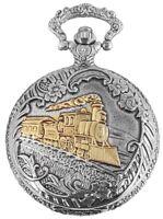 Fame Taschenuhr Lokomotive bicolor Silber Gold Sammler Edelstahl Geschenk Neu