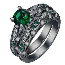 Fashion Jewelry Men 925 Silver Black Gold Filled Emerald Party Ring Set Size 8