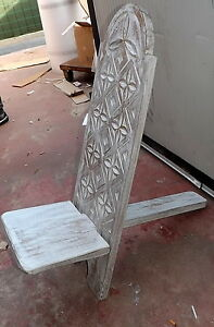 Wooden Chair Mahogany Type Deck White Pickled Carved by Hand CM 100x34x31