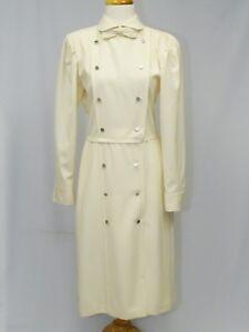 VINTAGE EMANUEL UNGARO PARALLELE IVORY DRESS COAT WITH BOW * sz 12