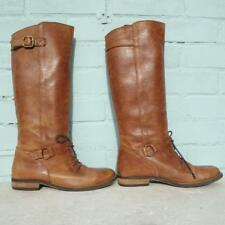 French Connection Brown Leather Boots Uk 7 Eur 40 Womens Pull on Lace up Boots