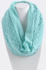 B73 Lace Dual Side Mint Green Geometric Pattern Infinity Scarf Boutique