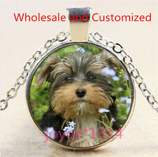 Vintage Cute Dog Cabochon Tibetan silver Glass Chain Pendant Necklace #4624