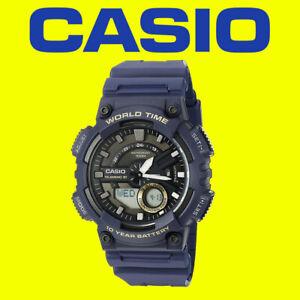 Casio AEQ-110W-2AVEF BLUE Resin Strap Men's Watch World Time Alarm Chrono *DEAL*