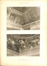 Plafond Salon de Mars Salon d'Apollon Château de Versailles GRAVURE PRINT 1899