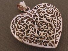 P006- Genuine SOLID 9K Rose/Pink Gold HUGE & PUFFY Filigree Heart Pendant Love