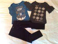 2 Old Navy Long Sleeve Tops & Fleece Pants Girls Sz 8