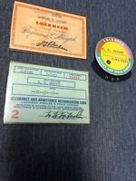 Vintage 1950s Lockheed Martin Missiles And Space Badge Pin And ID Cards Rare!!