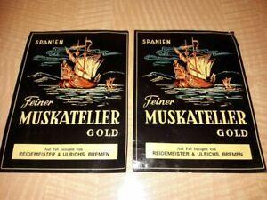 """2 Flaschenetiketten - """"Feiner Muskatelier Gold"""" Reidemeister & Ulrichs, Bremem"""