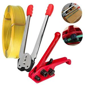 Strapping Tool Kit 1 Roll Poly Strap Packaging Banding Tensioner Plastic Sealer