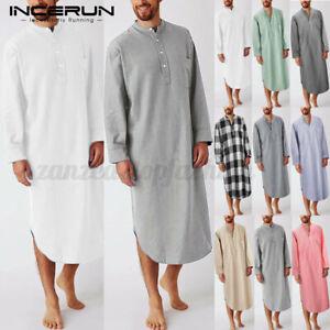 100%Cotton Mens Nightshirt Bathrobe Nightshirt Loose Fit Dressing Gown Nightwear